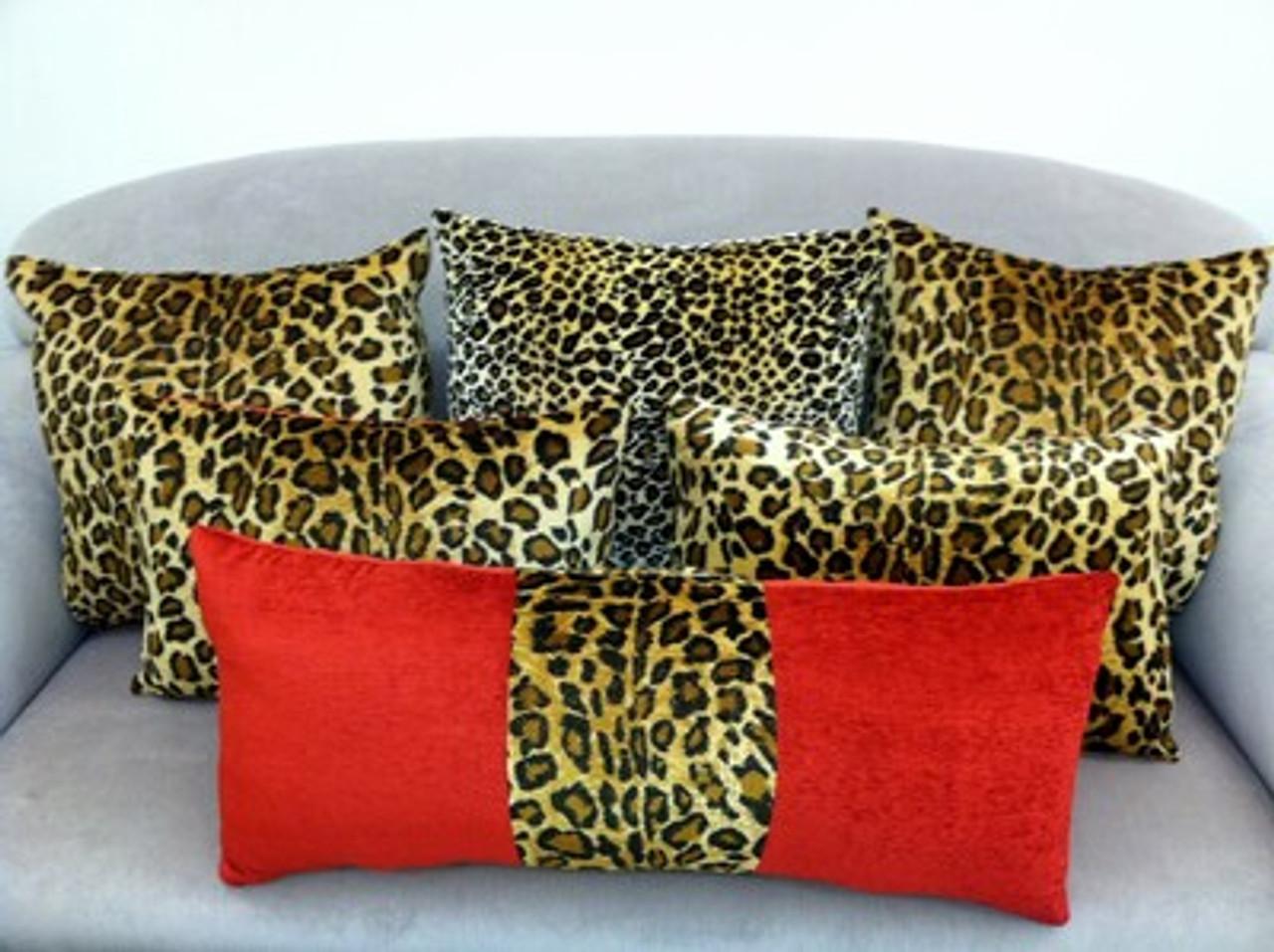 Animal Print Throw Pillow Covers Leopard Red Velvet Set Of 6 Thundersley Interiors