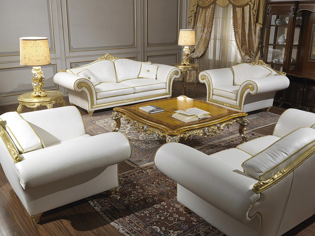 Classic Leather Living Room Sofa Set