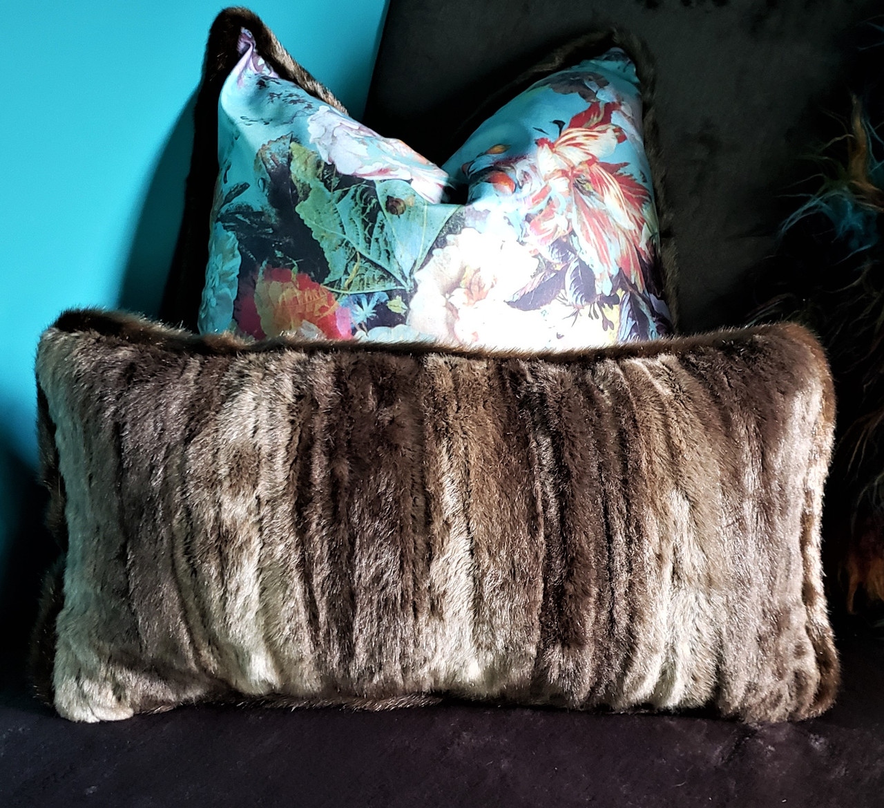 Picture of: Mink Fur Lumbar Throw Pillow