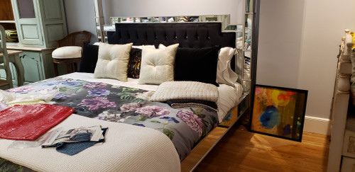 Mirrored Two Poster Bed with Crystal buttons