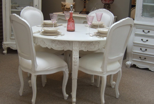 Provincial Round Dining Table Set White