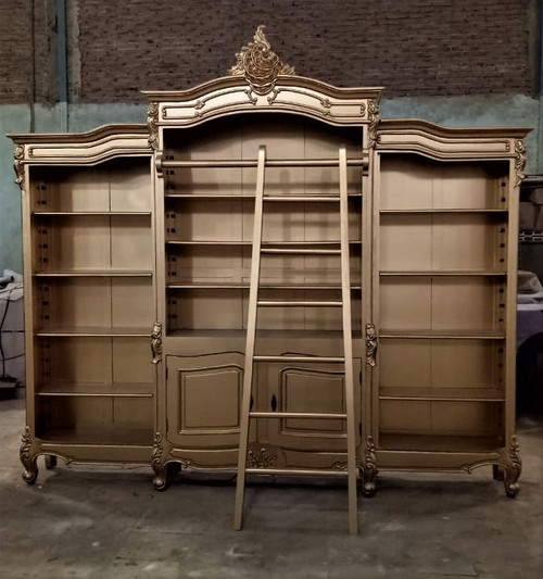 French Carved Bookcase Display with ladder, Gold