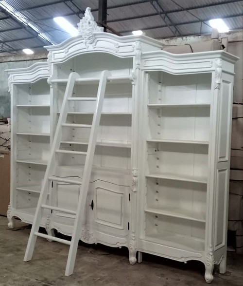 French Carved Bookcase Display with ladder, White
