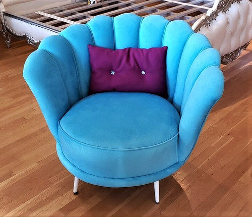 Art Deco Shell Chair, Blue