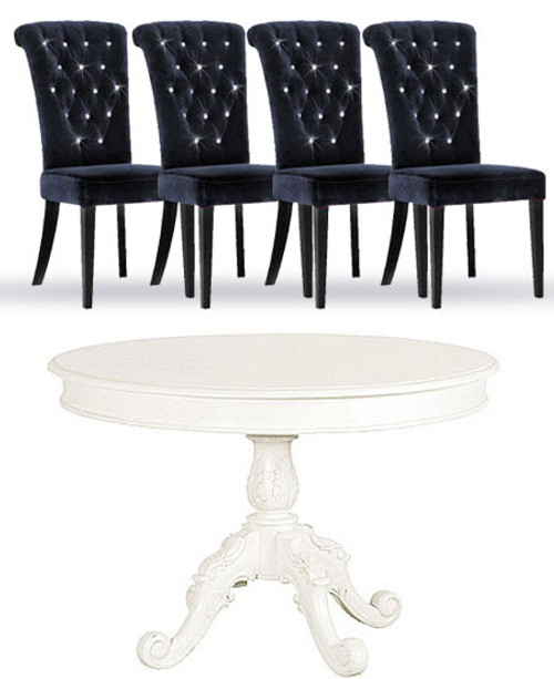 French Chateau white Round Dining Table and Velvet Chair Set