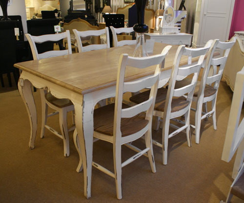 French Oak Dining Table Set (1 Table 6 Chairs)....Stone & Natural Oak French Style