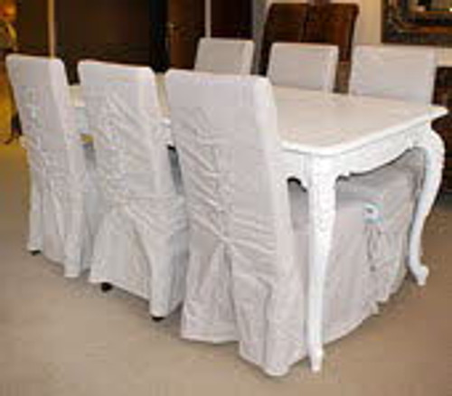 Shabby Chic Dining Table Set (1 Table 6 Chairs)