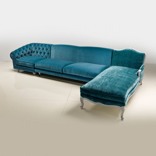 Turquoise Sectional Sofa with Chaise