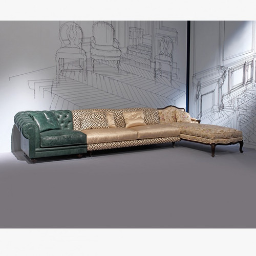 Chesterfield Sectional Sofa with Chaise, Green  and Peach Multi