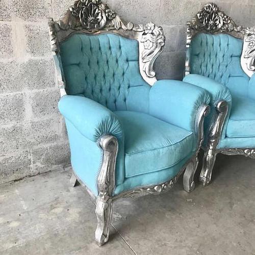 Silver Baroque Throne Armchair