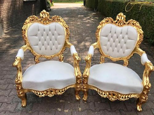 Gold Baroque Throne Armchair, White Velvet