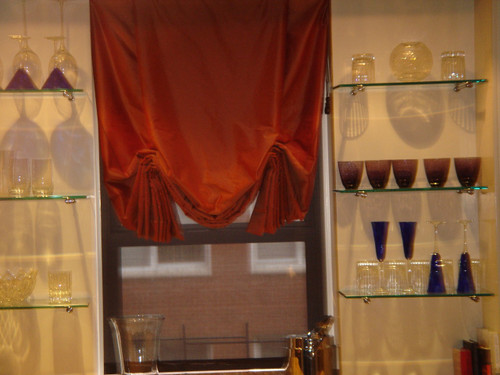 Soft Roman Shade, Burgundy Silk