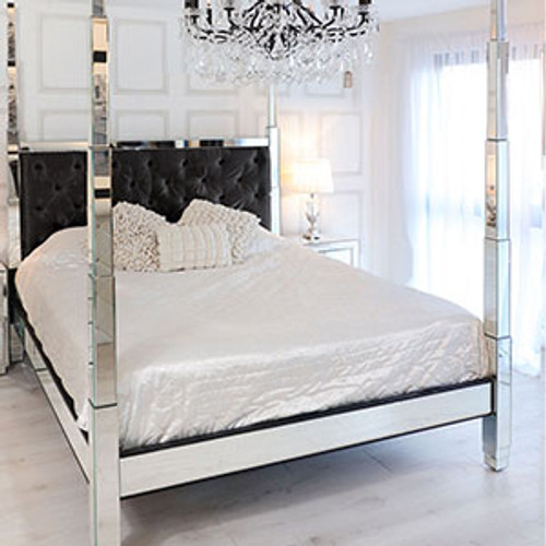 Glam Four Poster Mirrored Bed, High Posts