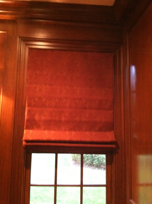 Roman Shade, Burgundy Damask