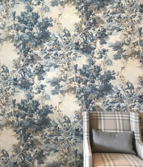 Rutland Wallpaper shown Aqua blue