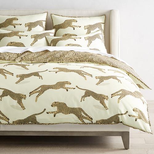 Scalamandre Leaping Cheetah Bedding, Dune