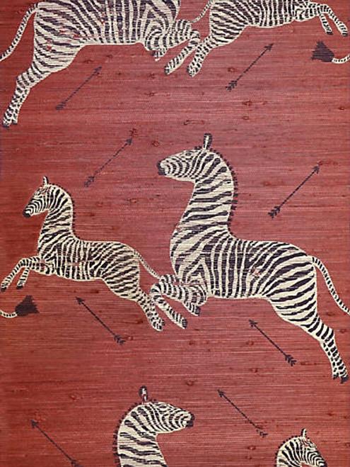 Scalamandre Zebras - Grasscloth Red Wallpaper