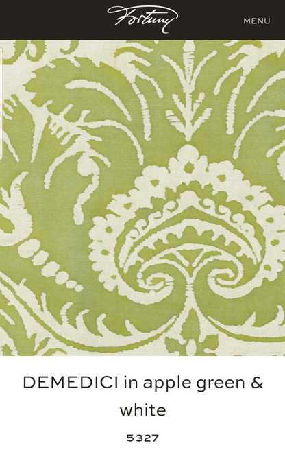FORTUNY DENEDICI APPLE GREEN THROW PILLOW