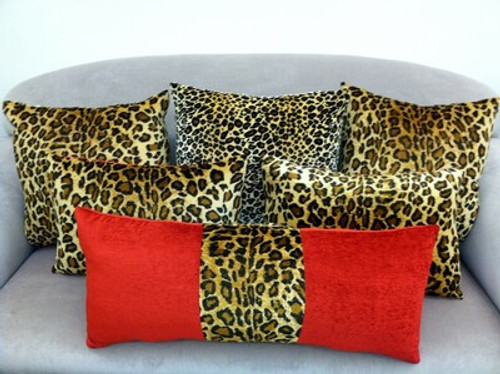 Animal Print Throw Pillow Covers, Leopard & Red Velvet set of 6