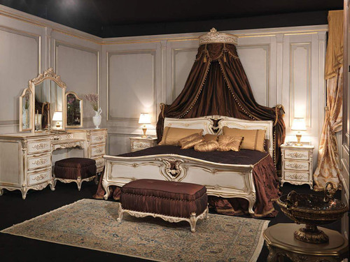 Classic Louis XVI Bed Set, White & Gold