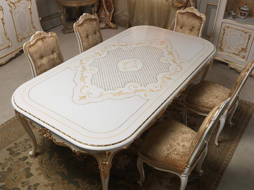 French Classic Dining Room Set, white & Gold Louis XVI