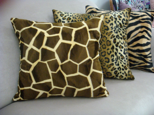 Giraffe Throw Pillow cover, Brown & Gold