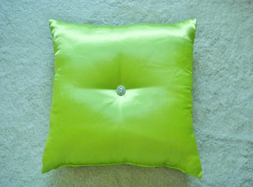 Glam Satin Rhinestone Bling Throw Pillow, Silver setting