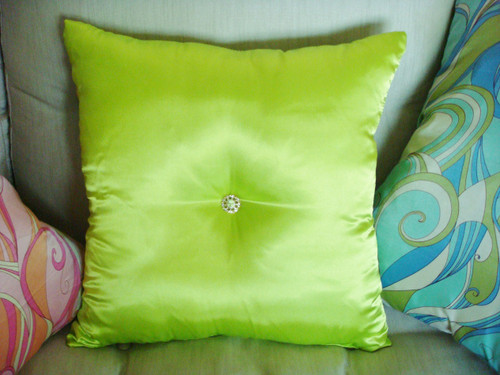 Glam Satin Rhinestone Bling Throw Pillow, Gold setting from Thundersley Home Essentials 212 889 1917