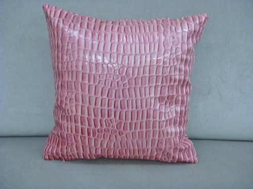 Faux Leather Throw Pillow Cover, Pink