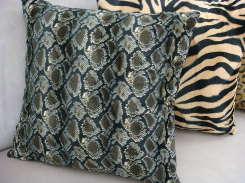 Python Throw Pillow Cover, Faux Fur Color Brown/Grey/Black