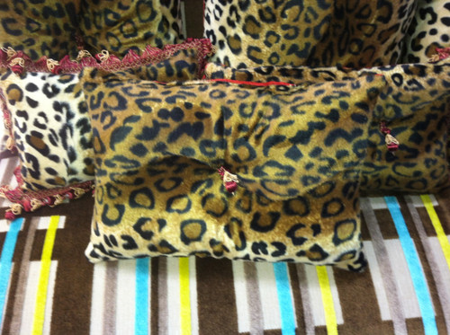 Cheetah Boudoir Pillow with a center tassel, Lumbar 15 x 10 inches