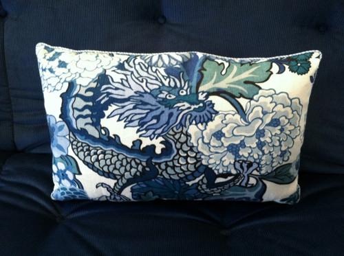 Chiang Mai Dragon Throw Pillow, fabric by Schumacher