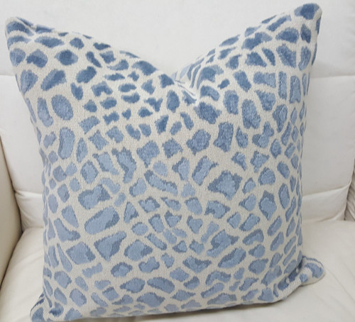 Leopard Throw Pillow, Blue and Ivory