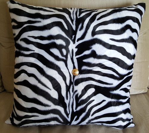Zebra Print Throw Pillow, Black And White