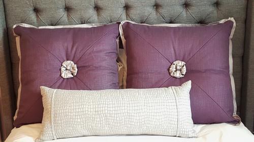 Purple Decorative pillows with bows