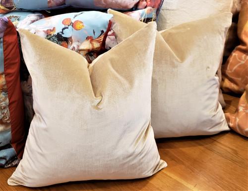 Velvet Throw Pillow, Beige Ralph Lauren