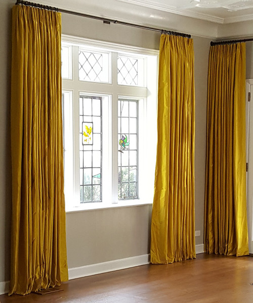 Luxury Silk Dutchess Curtain on a Decorative Pole | Custom window treatments in Stamford, CT, by Thundersley Interiors