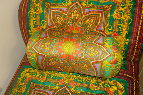 Bolster Pillow, Baroque Bolster.....Fabric Designed by Gianni Versace....Green