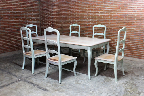 French Shabby Chic Dining Table Set, Chateau Turquoise
