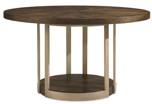 (A) Round dining table in wood and metal, Dark Oak