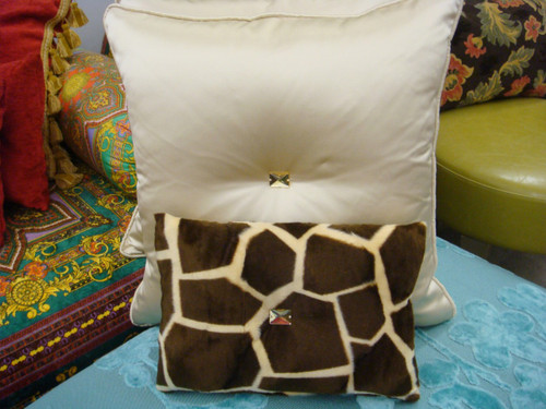 Animal Print Throw Pillows, Giraffe Bling Boudoir, Gold & Brown 12 X 10