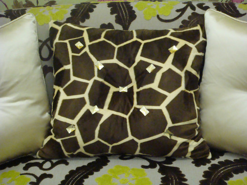 Animal Print Throw Pillow, Giraffe Bling, Gold & Brown 20X20