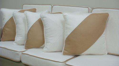 Hampton White And Camel Throw Pillow Diagonal
