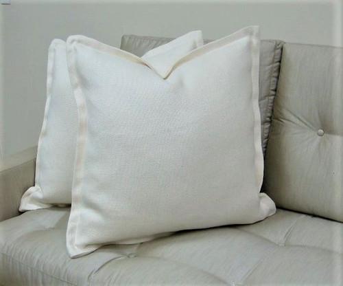 Hampton White Throw Pillow with Flange