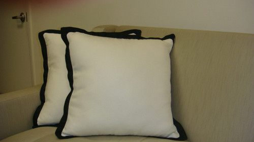 Hampton White And Black Throw Pillow with Flange