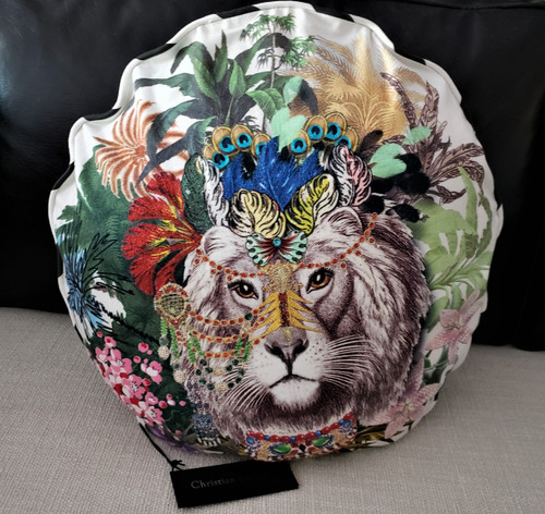 Lion Jungle Round Throw Pillow by Christian Lacroix