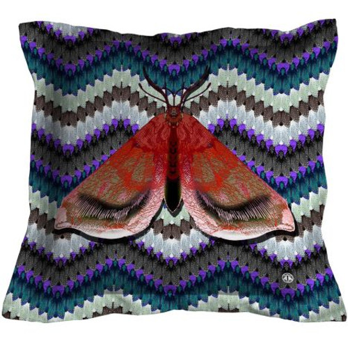 Bell Moth Throw Pillow, Red on Blue