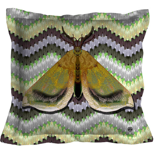 Bell Moth Throw Pillow, Green