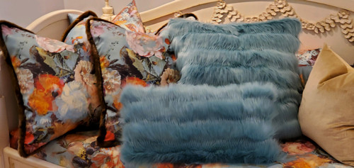 Aqua Glam Lumbar Fur Throw Pillow