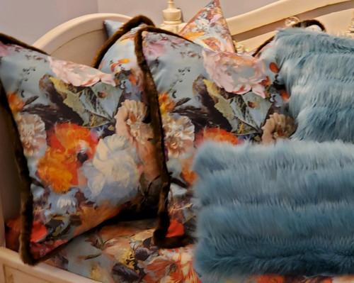 Jean Paul Gaultier Botanique Decorative Throw Pillow with Fur Trim